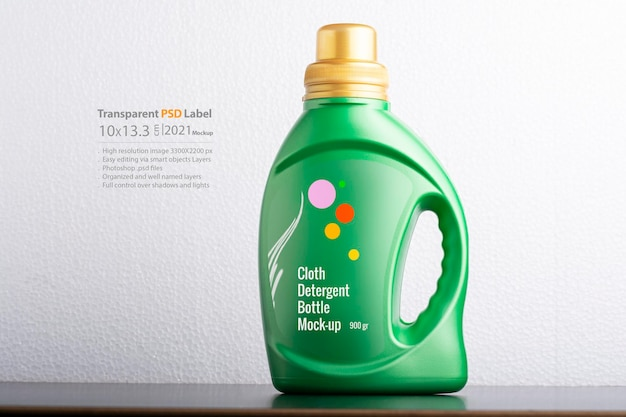 Design de maquete de garrafa de detergente para pano