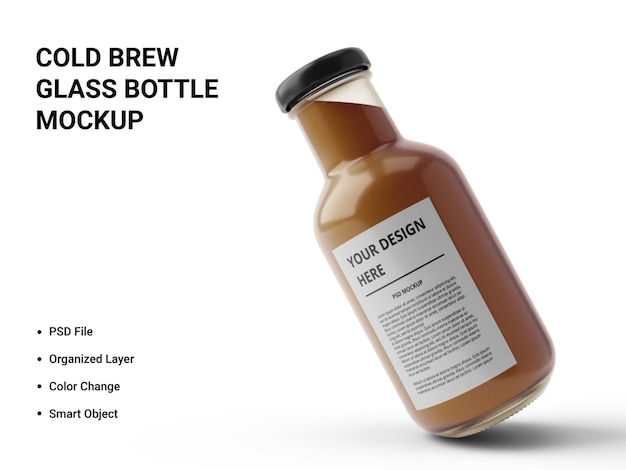 Design de maquete de garrafa de vidro cold brew