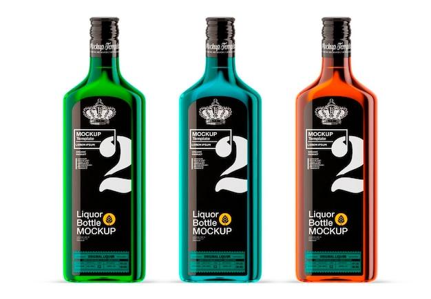 Design de maquete de garrafa de vidro de licor