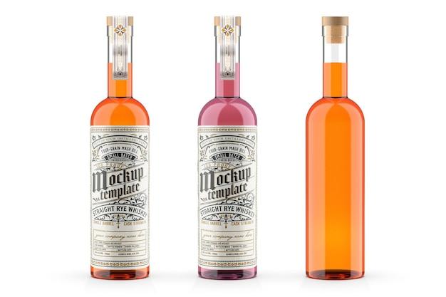 Design de maquete de garrafa de vidro de uísque em renderização 3d