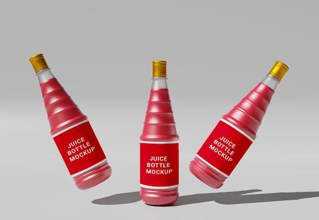 Design de maquete de garrafas de suco