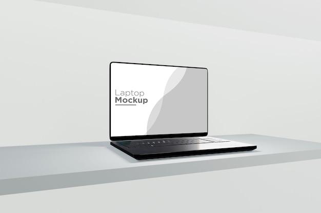 Design de maquete de laptop preto isolado em plano de fundo 3d