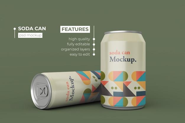 Design de maquete de lata de refrigerante de qualidade premium