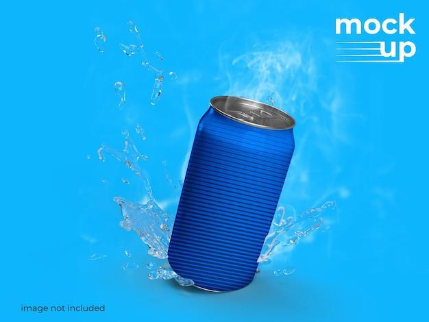 Design de maquete de lata de refrigerante
