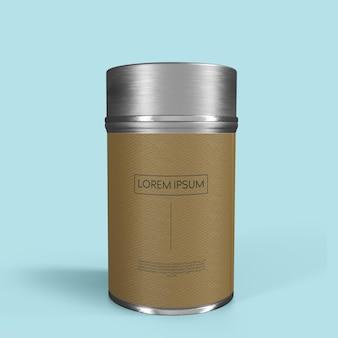 Design de maquete de lata metálica brilhante