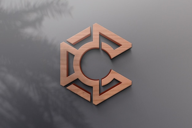 Design de maquete de logotipo com sombra de planta