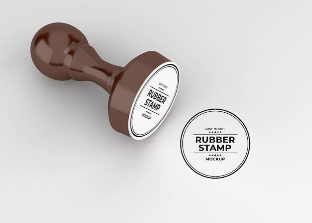 Design de maquete de logotipo de carimbo de borracha arredondado