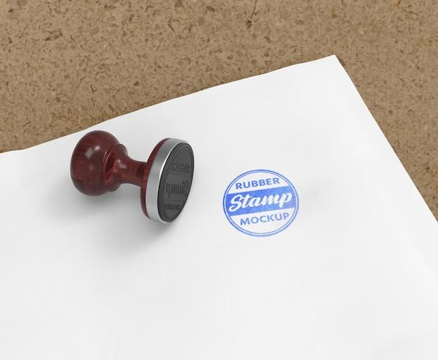 Design de maquete de logotipo de carimbo ou carimbo de borracha