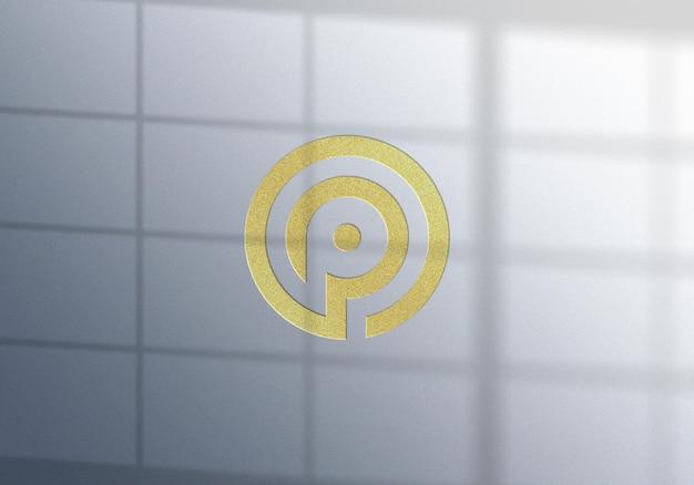 Design de maquete de logotipo de folha de ouro