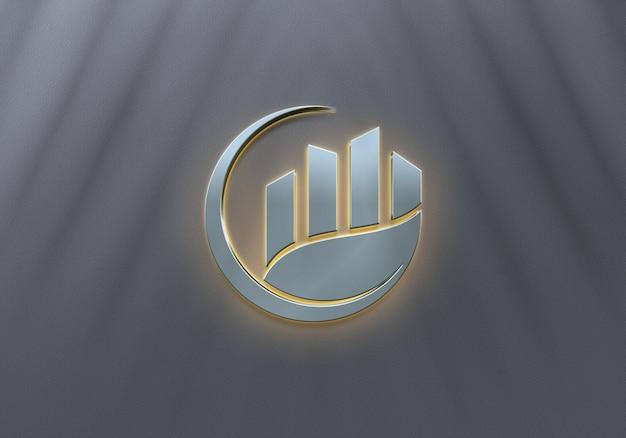 Design de maquete de logotipo de luxo com luz neon