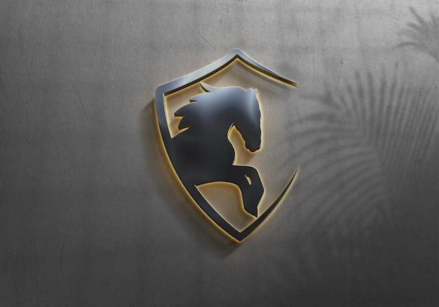 Design de maquete de logotipo de luxo com sombra de folhas