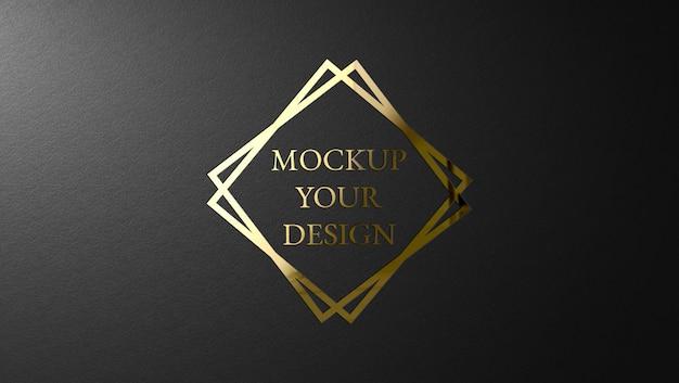 Design de maquete de logotipo dourado