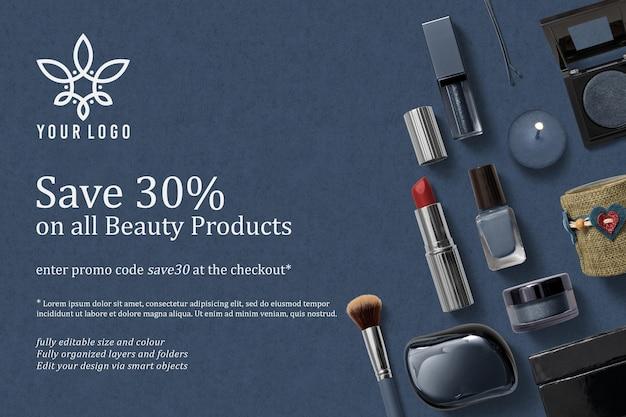 Design de maquete de logotipo e cosméticos para venda
