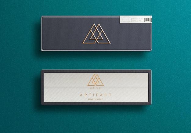 Design de maquete de logotipo em caixa de joias