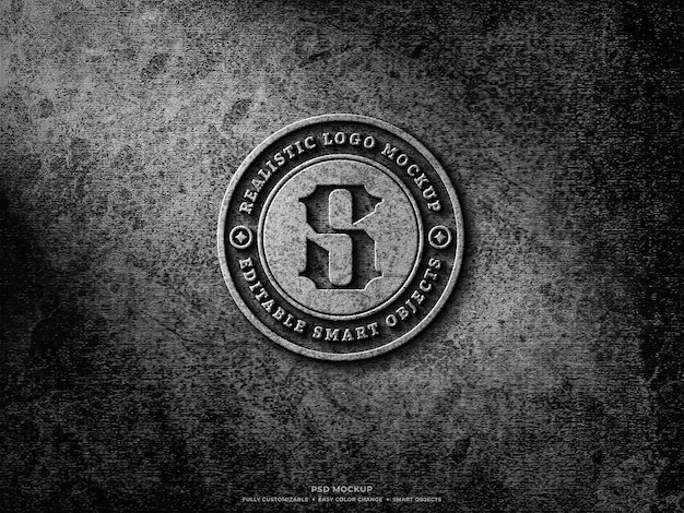 Design de maquete de logotipo em concreto bruto