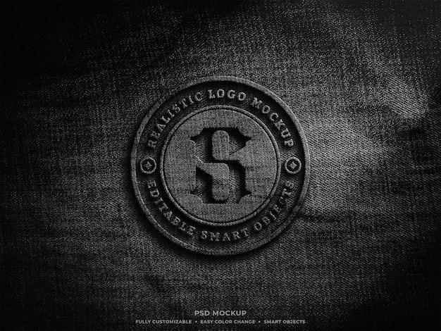 Design de maquete de logotipo em tecido em relevo