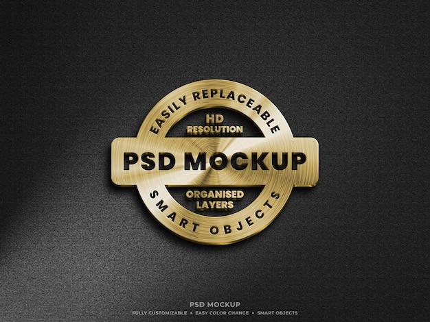 Design de maquete de logotipo metálico dourado lindo