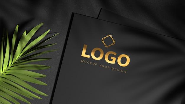 Design de maquete de logotipo ouro com folhas de sombra