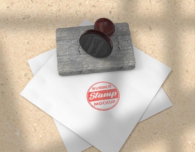 Design de maquete de logotipo para carimbo ou almofada de carimbo