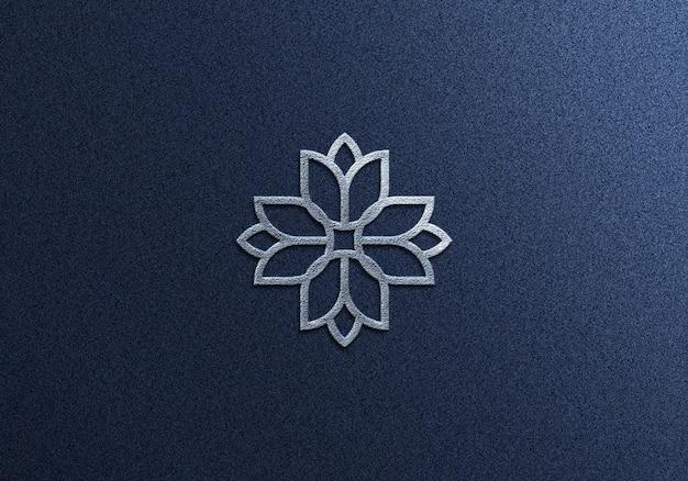 Design de maquete de logotipo prateado