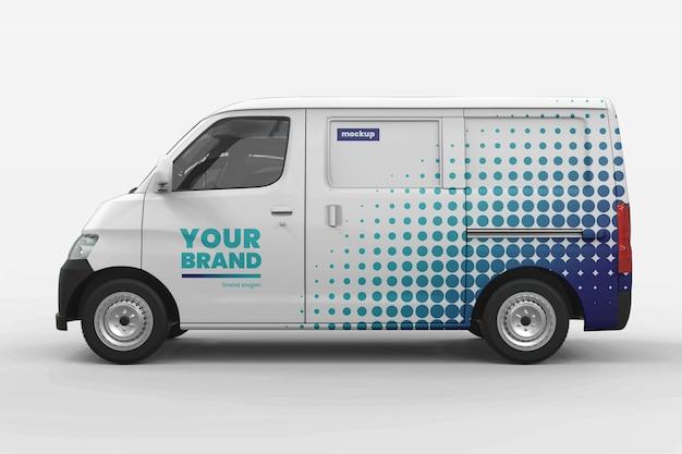 Design de maquete de marca de minivan