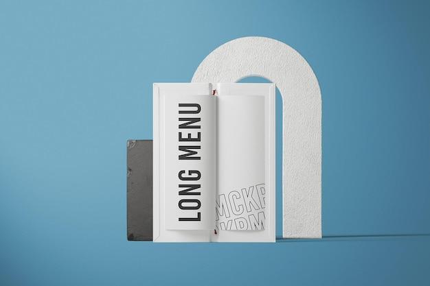 Design de maquete de menu longo com vista frontal