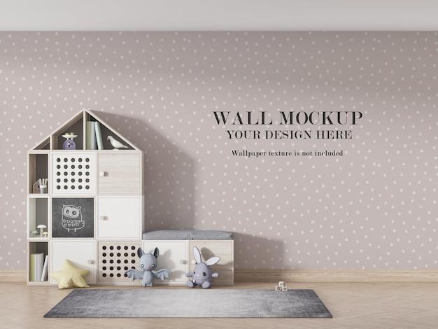 Design de maquete de papel de parede de quarto infantil