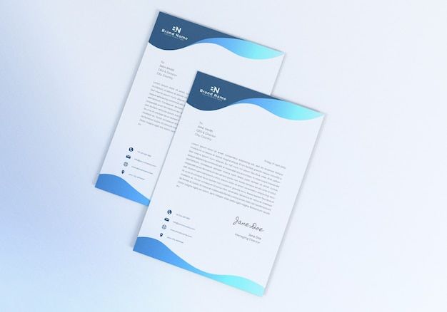 Design de maquete de papel timbrado realista