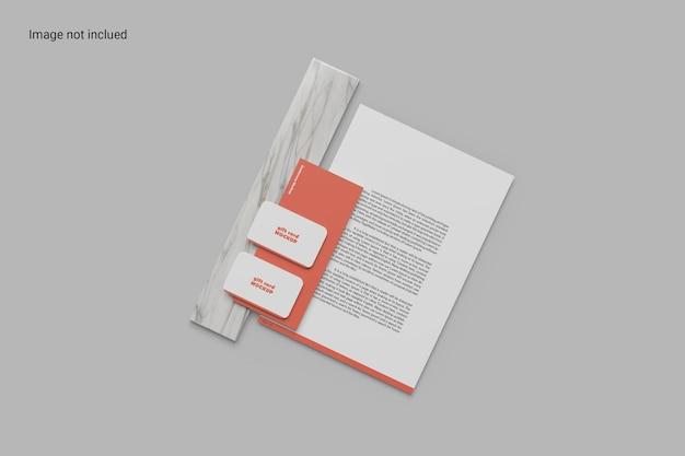 Design de maquete de papelaria de vista superior