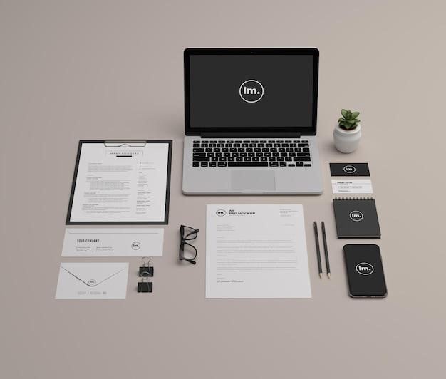 Design de maquete de papelaria e branding isolado