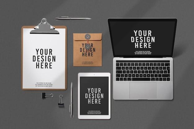 Design de maquete de papelaria simples de luxo