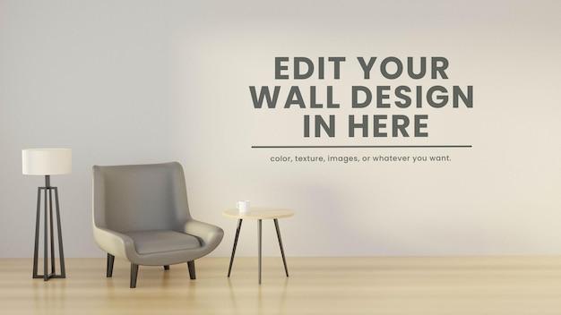 Design de maquete de parede com estilo escandinavo interior