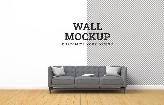 Design de maquete de parede com moderna sala de estar.
