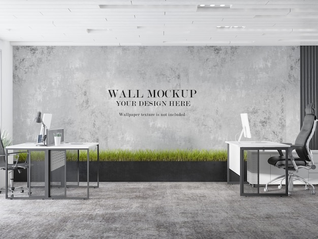Design de maquete de parede de espaço de trabalho de escritório