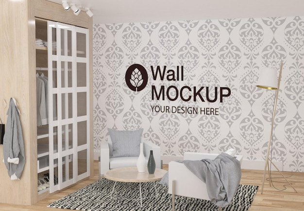 Design de maquete de parede no quarto