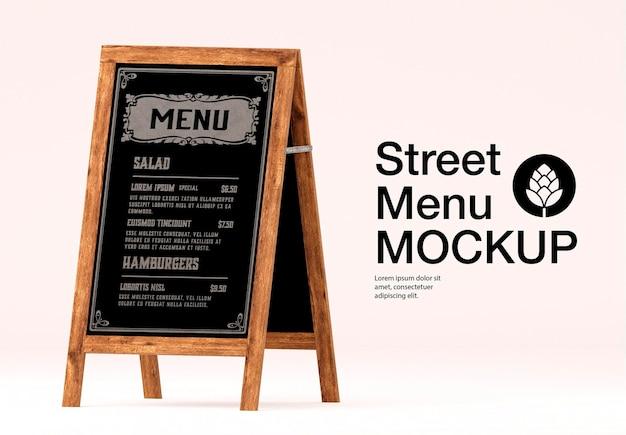 Design de maquete de placa de menu de rua isolado
