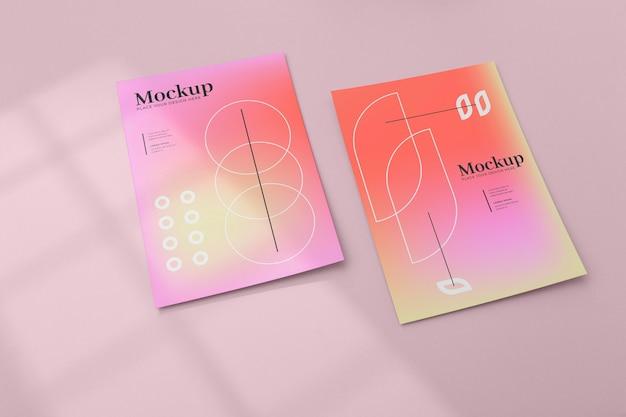 Design de maquete de pôster e folheto
