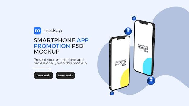 Design de maquete de promoção de aplicativo de smartphone entalhado