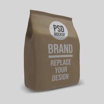 Design de maquete de renderização 3d de saco de café de papel