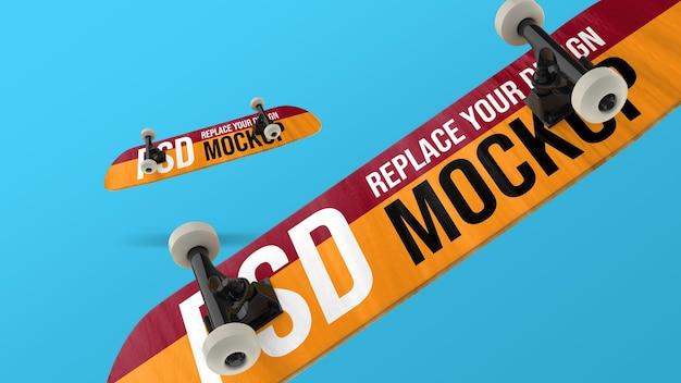 Design de maquete de renderização 3d de skate
