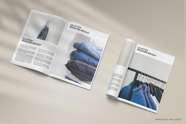 Design de maquete de revista aberta e enrolada