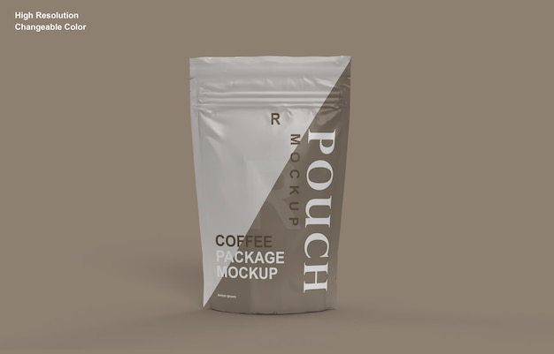 Design de maquete de sachê de embalagem de café