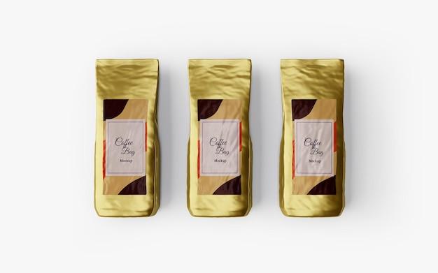 Design de maquete de saco de café brilhante