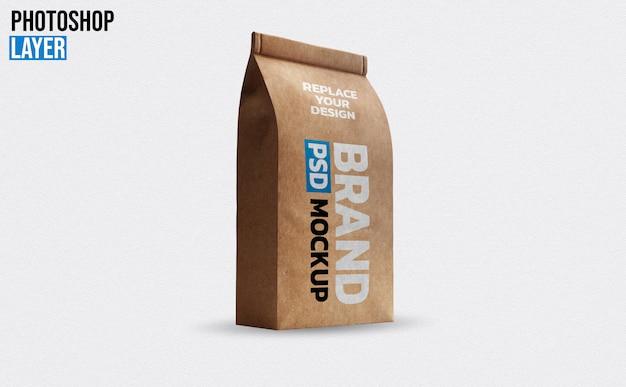 Design de maquete de saco de café de papel