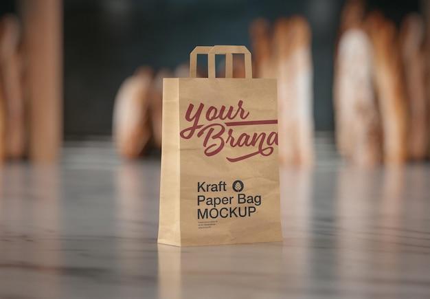 Design de maquete de saco de papel kraft para padaria