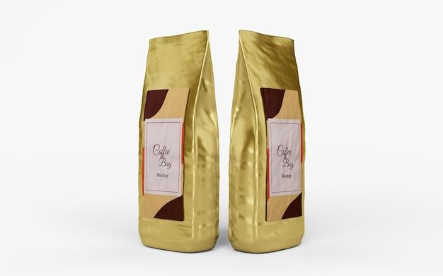 Design de maquete de sacos de café brilhante