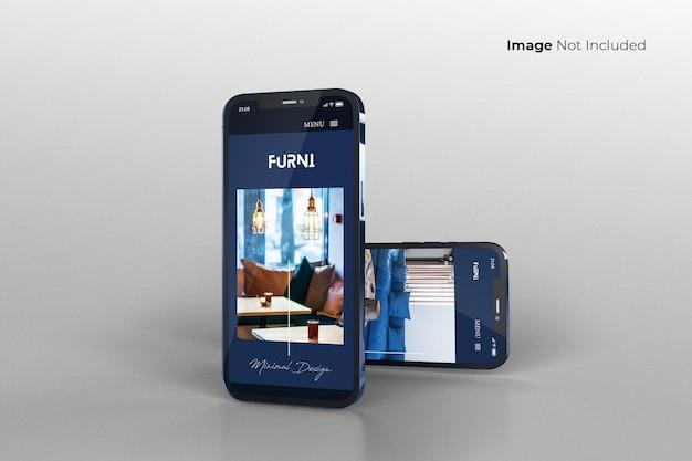Design de maquete de smartphone azul em tela cheia