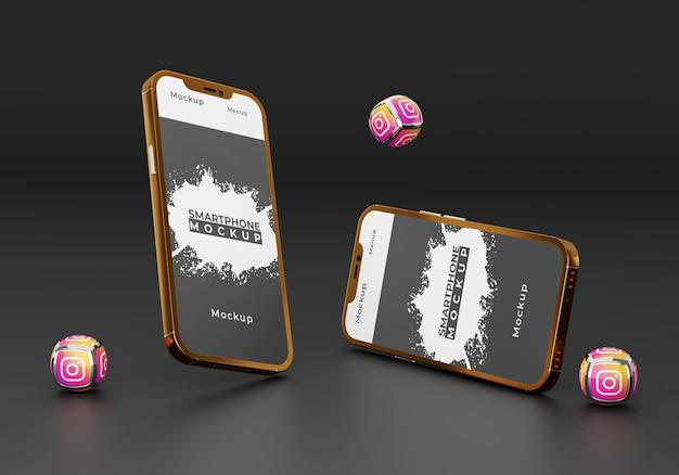 Design de maquete de smartphone dourado com ícones elegantes de mídia social