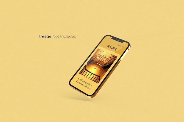 Design de maquete de smartphone dourado em tela cheia