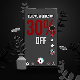 Design de maquete de smartphone preto sexta-feira